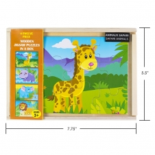 IPLAY - casse-tête en bois - Safari Animals - 5.5 x 7.75 (14 x 20 cm) - Ensemble de 4