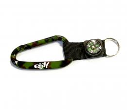 Camouflage Green Carabiner with Compass