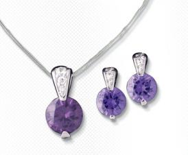 Amethyst Cubic Zirconia Pendant Necklace and Matching Earrings