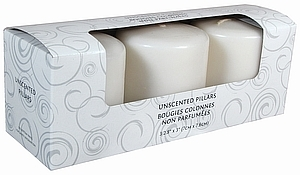 3X4 UNSCENTED PILLAR WHITE 3 PACK