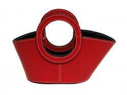 Leather Wine Basket & Server w/ 2 Handle - Fire Engine Red
