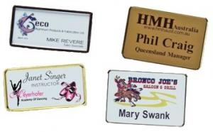 Personalized Name Badges - 2 x 3 - With Attached Pin - Gold or Silver Casing - 4 Color Process Print