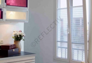 Window Films - Decorative Films - White Films - INT 435 - Whites Stripes of 43 mm