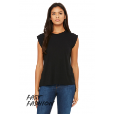 BELLA - B8804 - LADIES FLOWY MUSCLE TEE WITH ROLLED CUFF - Noir - Medium