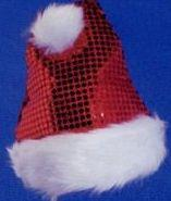 Red Sequin Santa Cap