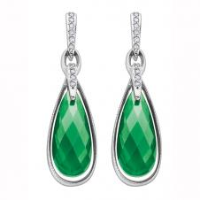 17mm Green Onyx Drop Earrings in 10K White Gold with Diamonds (0.10 CT. T.W