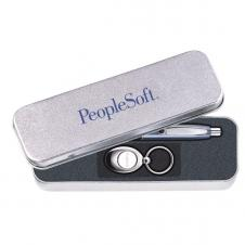 Sandstone Tin Gift Box for Pen & Key Ring Set