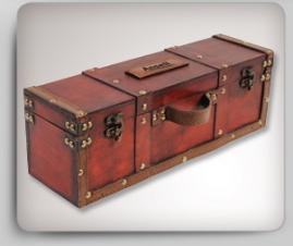 4 Piece Treasure Chest w/ Squared Corners Wine Set