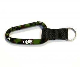 Camouflage Green Carabiner with Split Key Ring and Nylon Strap