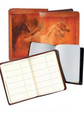 Equestrian Vegetable Tanned Calf Leather Desk Size Telephone & Address Book