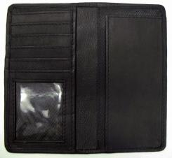 Leather Checkbook Cover w/ 5 Credit Card Pockets - Black