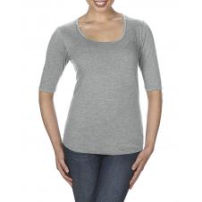 ANVIL - 6756L - T-Shirt - T-Shirt Triblend 1/2 Manches Échancré pour Femmes - 50/25/25 - Gris Cendré - X-Small
