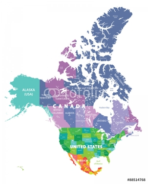 colored map of USA, Canada and Mexico states