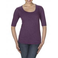 ANVIL - 6756L - T-Shirt - T-Shirt Triblend 1/2 Manches Échancré pour Femmes - 50/25/25 - Aubergine Cendré - Large