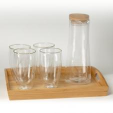 Binara 16 oz Glass Set w/Tray and Carafe