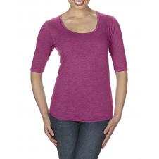 ANVIL - 6756L - T-Shirt - T-Shirt Triblend 1/2 Manches Échancré pour Femmes - 50/25/25 - Framboise Cendré - Large