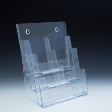 Counter Brochure Holder up to 8.5 Width - 3 pockets -  9.375 W x 13.5 H x 7 D - Clear