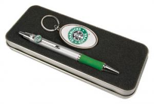 Pen and Metal Key Tag Set - Domed full color insert and tin box