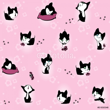 kitten in flowers. Wallpaper. pink background