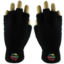 Embroidered Fuzzy Fingerless Gloves