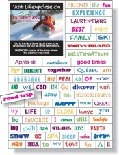 Magnetic Word Set (74 pieces), Digital Full Colour, White Vinyl Topcoat