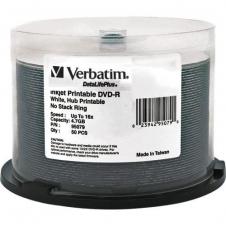 Verbatim - 95079 - DVD-R 4.7GB 16X DataLifePlus White Inkjet Printable, Hub Printable - 50pk Spindle