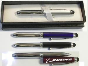 Metal Pen with LED Light & Stylus in Gift Case