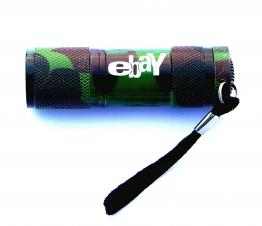 Green Camouflage Aluminum 9 LED Flashlight with Batteries