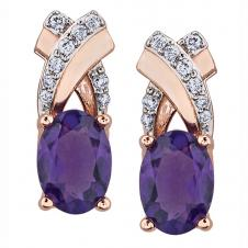 7mm Amethyst Drop Earrings in 10K Rose Gold with Diamonds (0.09 CT. T.W.)