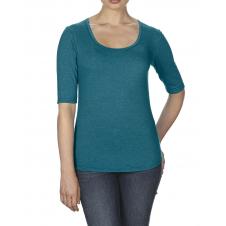 ANVIL - 6756L - T-Shirt - T-Shirt Triblend 1/2 Manches Échancré pour Femmes - 50/25/25 - Galapagos Cendré - Medium