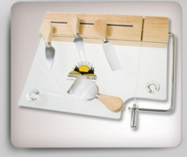 Glass Cheese Board Set w/ 4 Utensils