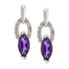 7mm Amethyst Drop Earrings in 10K White Gold with Diamonds (0.20 CT. T.W.)