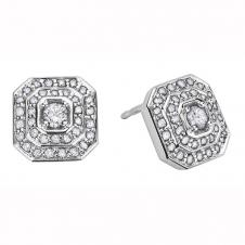 Diamond Framed Stud Earrings in 9K White Gold (0.5 CT. T.W.)