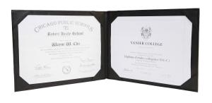 Black Leather Double Certificate/ Document Holder in Landscape Format