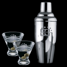 Connoisseur 3 Piece Martini Set with Shaker & 2 Brisbane Glasses