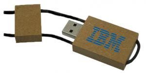 Rectangle Recycle Paper USB Flash Drive W/ Attach String Top