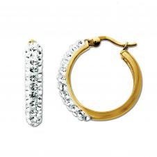 Sterling Silver/Gold Plated Clear Crystal Hoop Earrings.