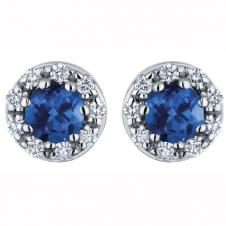 3.8mm Sapphire and Diamond Stud Earrings in 14K White Gold (0.12 CT. T.W.)