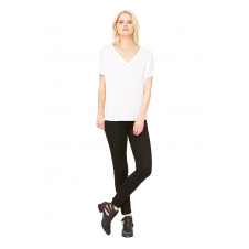 BELLA - B8815 - T-SHIRT COL EN V AMPLE POUR FEMME - Blanc - Large