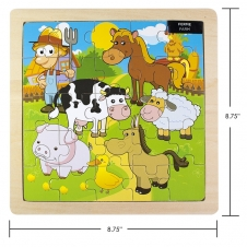 IPLAY - casse-tête en bois - Farm Animals - 8.75 x 8.75 (22.22 x 22.22 cm)