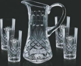 32 Oz. Cavanaugh Crystal Decanter & 2 Wine Glasses
