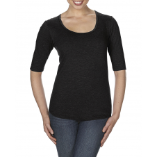 ANVIL - 6756L - T-Shirt - T-Shirt Triblend 1/2 Manches Échancré pour Femmes - 50/25/25 - Noir - Medium