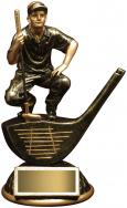 Resin Male Golfer Crouching On Driver, 6-1/2