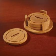 Round Bamboo Coaster Set