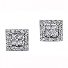Princess Cut Diamond Framed Stud Earrings in 10K White Gold (0.4 CT. T.W.)