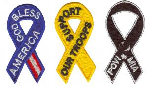 2 Embroidered Ribbon Appliques - Super Size