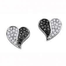 Heart Shaped Black and White Diamond Stud Earrings in 10K White Gold (0.28