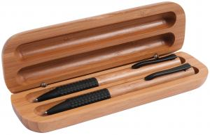 Bamboo gift box with a bamboo pen and mechanical pencil