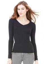 Bella+Canvas - 8750 - Sheer Rib Long Sleeve V-Neck Ladies Tee