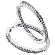 Diamond Hoop Earrings in 14K White Gold (0.33 CT. T.W.)
